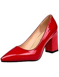 ¡Oferta de liquidación de Covermason! Zapatos de tacón cuadrado de moda para mujeres de tacón bajo Zapatos de tacón alto poco profundos(35 EU, rojo)