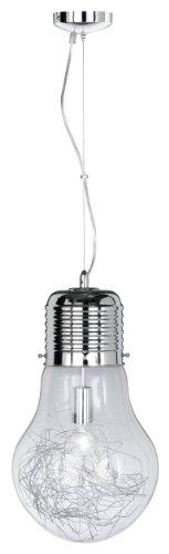 Wofi Futura - Lámpara de techo ajustable (60 W), diseño de bombilla, color cromo
