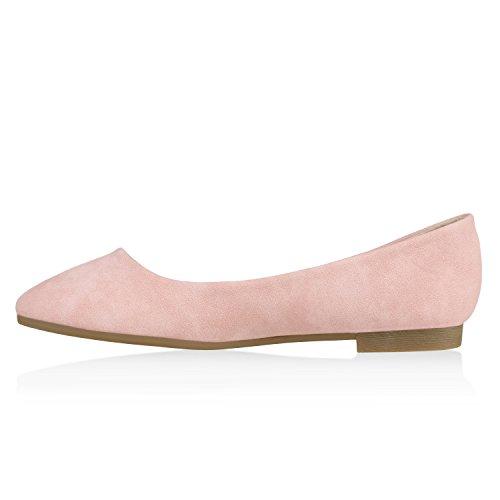 Klassische Damen Schuhe   Strass Ballerinas   Elegante Slipper  Übergrößen   Metallic Glitzer Flats Rosa Gold