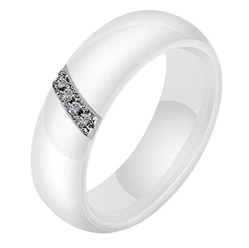 52 Single (HIJONES Damen 6MM Weiß & Schwarz Keramik Ring Einfach mit Zirkonia Engagement Hochzeit Band Single Weiß Größe 52)