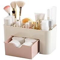 Yolandabecool - Organizer/espositore da tavolo per cosmetici, con cassetto, A, rosa, 1