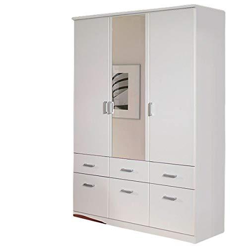 Jugendmöbel24.de Kleiderschrank weiß 3 Türen B 136 cm Schrank Drehtürenschrank Wäscheschrank Spiegelschrank Kinderzimmer Jugendzimmer Kinderzimmerschrank