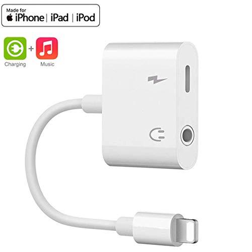 Adattatore jack per cuffie per iPhone 7 Dongle Aux Audio 3.5 Cavi Splitter per cuffie per musica e ricarica Compatibile per iPhone 7 / 7Plus / 8 /