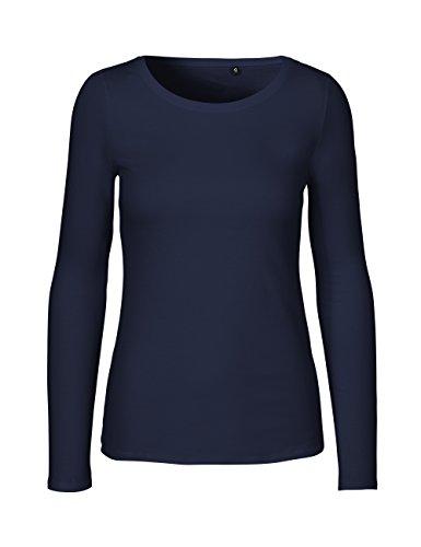 Damen-bio-baumwoll-jersey (Green Cat- Damen Langarmshirt, 100% Bio-Baumwolle. Fairtrade, Oeko-Tex und Ecolabel Zertifiziert, Textilfarbe: Navy, Gr. S)