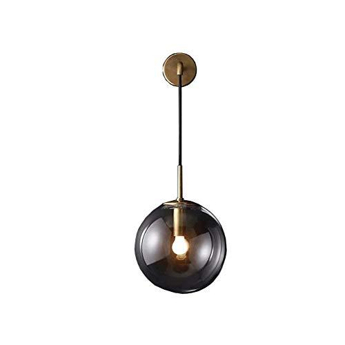 Oudan Nordic Post-Modern Wand Light Green Glass Ball Kreative Persönlichkeit des Luxus der Kupfer Einfache Schlafzimmer Bett Modell Lounge Room Lampe (Farbe: Schwarz 15 cm). (Farbe : Metallic-20cm) -