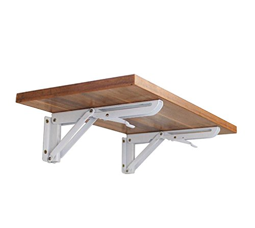 Soportes plegables para pared, soporte de mesa de acero enrollado, soporte de mesa plegable con brazo de liberación corta, carga máxima: máx. 60 kg (2 unidades)