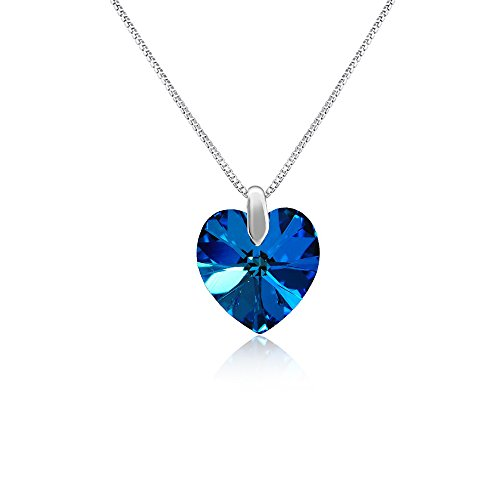 Mahi Rhodium plated Blue Heart Swarovski Element Love for My Valentine Pendant PS1194207RBlu