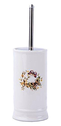 GMMH Rústico Vintage badset Mariposas–Accesorios de baño dispensador de jabón de cerámica (WC Escobilla)