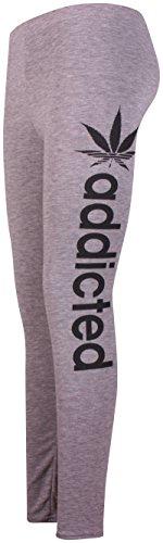 Addicted Seite Damen-Stretch mit elastischem Hüftbund Damen Leggings, volle lange Hose Pants Gris - Gris clair
