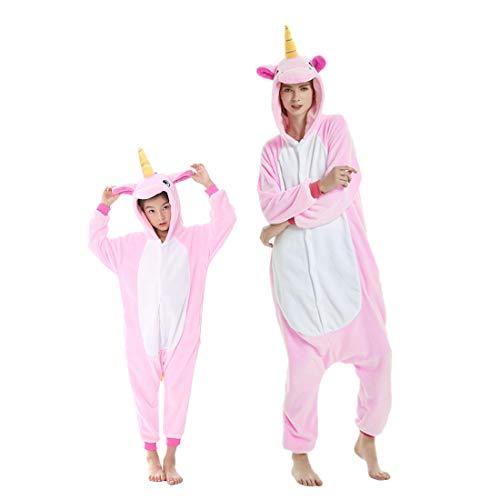 Debaijia Kinder-Pyjama aus Flanell/ Jumpsuit für Jungen und Mädchen, Warme Nachtwäsche, 3 bis 11Jahre Gr. 125(Hauteur recommandée: 130-143cm), Rosa - Pegasus