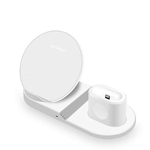 ZUZU Fast Wireless Charger, Charging Station Stand Dock Pad Compatible with Apple Watch + Airpods + iPhone XS Maxs Max/X/X/8/8 Plus, Samsung Galaxy S9/S9+/S8/S8+/S7/Note 8,A
