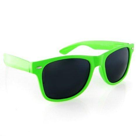 BOOLAVARD® Nerd Sonnenbrille im Wayfarer Stil Retro Vintage Unisex Brille - 45 verschiedene Farben/Modelle wählbar (Grüne Tönung)