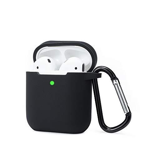 kokoka, custodia per airpods compatibile con airpods 2 e 1, in silicone antiurto per una protezione extra, con led frontale visibile, supporto di ricarica wireless e gancio