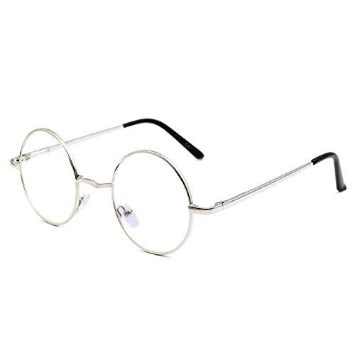 AMZTM Metall Rahmen Klein Runden Klassisch Retro Lesen Brille Für Damen Und Herren Anti Blaues Licht Computer Brille UV400 Blendung Strahlung Schutz Entlasten Augen Ermüdung Trocken
