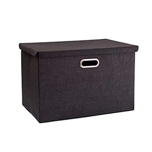 MJY Extra große Aufbewahrungsbox Baumwolle und Leinen Tuch Art Loading Kleidung abgedeckt Reine Farbe Finishing The Box Kleiderschrank Unterwäsche Schließfächer Thicken Nachahmung Leinen Material Met