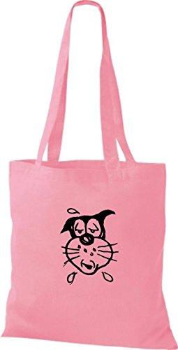 Shirtinstyle Borsa Di Stoffa Motivo Di Gatto Razza Gatto Divertente Animali Selezionatore Gatto Vario Colore Classico Rosa