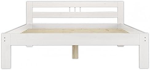 Erst-Holz® Doppelbett 140x200 Massivholzbett Kiefer weiß Futonbett Rollrost Jugendbett 60.64-14 W