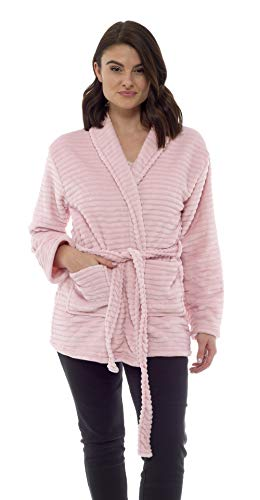 CityComfort Bademäntel für Damen Kurz Sehr Weich Morgenmantel Hausmantel Fleece (L (16-18), Rosa)