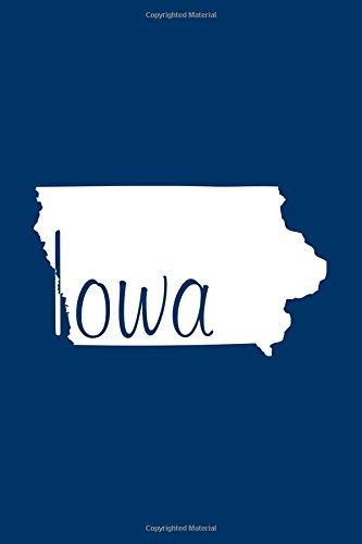 Iowa - Navy Blue Lined Notebook with Margins: 101 Pages, Medium Ruled, 6 x 9 Journal, Soft Cover