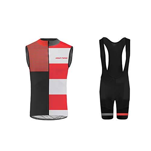 Uglyfrog Uomo Abbigliamento Ciclismo Gilet Set Nuova Collezione Estivo Abbigliamento Sportivo per Bicicletta Maglia Senza Maniche+Bib Pantaloni Salopette WMJX05F
