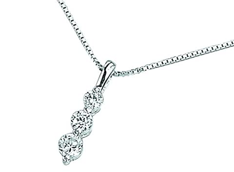 Elements Silver P976C Ladies' Clear Cubic Zirconia 3 Round Drop Sterling Silver Pendant Chain of 46.5 cm