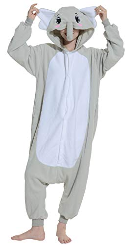 Unisex Animal Pijama Ropa de Dormir Cosplay Kigurumi Onesie Elefante Gris Disfraz para Adulto Entre 1,40 y 1,87 m