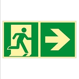 Rettungsweg rechts - Fluchtweg - Notausgang - Rettungsschild - Rettungszeichen ISO 7010 Kunststoff nachleuchtend selbstklebend 300 x 150 mm