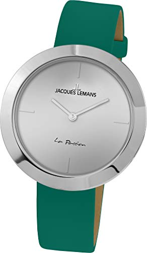 Jacques Lemans La Passion Femme 37mm Bracelet Cuir Vert Quartz Montre 1-2031E