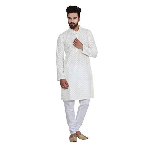 Royal Men's Designer Chicken Kurta & Churidaar Pyjama Cotton (Kurta Chikan)