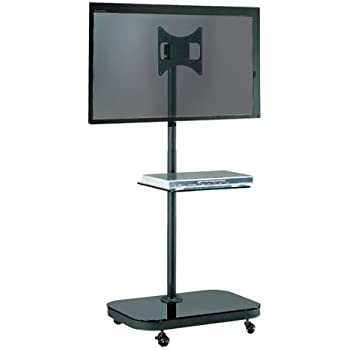 heavy duty mobile tv stand with shelf wheels for electronics. Black Bedroom Furniture Sets. Home Design Ideas