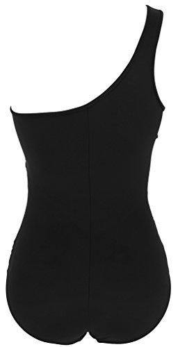 TDOLAH Damen One Shoulder Einteilige Gaze Badeanzug Bikini Set A-Schwarz-4