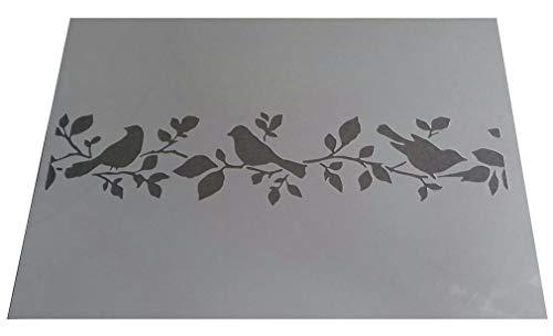 Vintage-Schablone aus Kunststoff, Motiv Vögel und Baum, A4, 297 x 210 mm, für Möbel und Wände DES2 (Baum-schablone Für Die Wand)