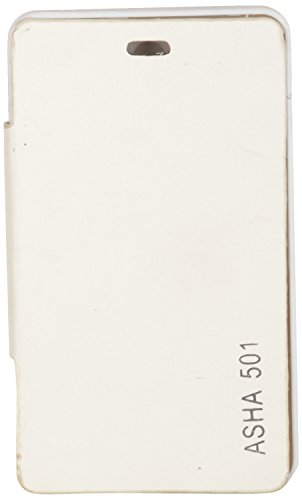 iCandy™ Synthetic Leather Flip Cover For Nokia Asha 501 - WHITE  available at amazon for Rs.170