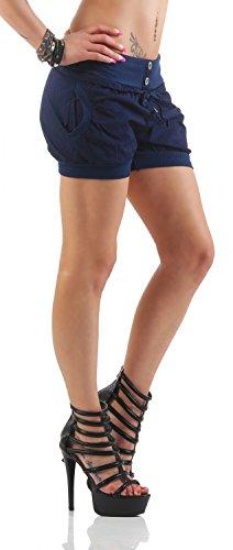 Damen Shorts Kurze Hose Chino Bermuda Pants in angesagten Farben ( 506 ) Dunkelblau
