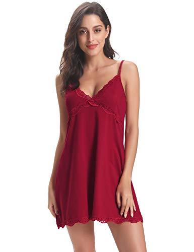 Aibrou Damen Sexy Nachthemd Nachtkleid Negligee Kurz Spitze Nachtwäsche Unterkleid Lingerie Trägerkleid aus Baumwolle Weinrot L