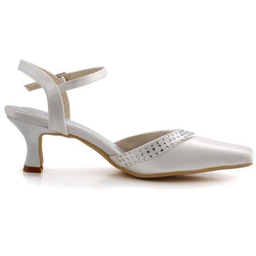 Elegantpark Femmes EP11033 Bout Carré Bloc Talon Boucle Diamant Satin Chaussures de Mariee Mariage Ivoire