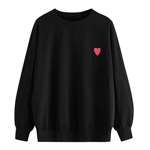 Lazzboy Frauen Herbst Langarm Sweatshirt Buchstaben Kapuzenpullover Tops Bluse Frühling Sommer Top Damen Women Lange ärmel T Shirt Pullover Crop(Schwarz,XL)