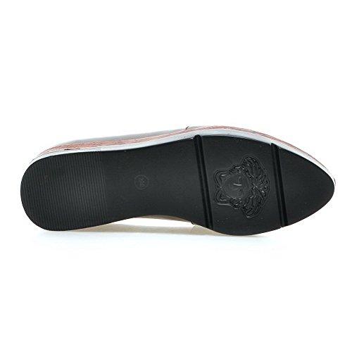 AllhqFashion Femme Couleur Unie Matière Souple à Talon Haut Tire Pointu Chaussures Légeres Gris