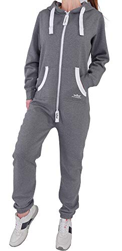NM5 Finchgirl Damen Jumpsuit Jogging Anzug Trainingsanzug Overall Dunkelgrau L Fleece-warm Ups