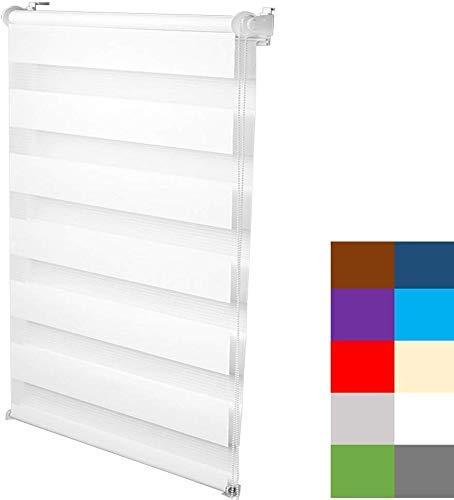 S SIENOC Doble persiana Enrollable Duorollo Estor Enrollable Doble Tejido Persiana para Las Ventanas de Oficina Estar Dormitorio (Blanco, 65x150 cm)
