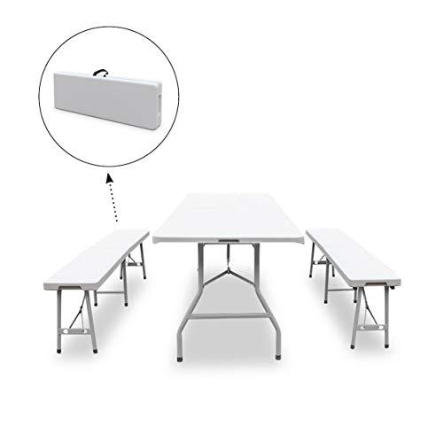 SVITA Buffettisch Kombi mit Tisch und Bank Bierbank Klapptisch Esstisch Camping-Set 180cm (Garnitur, Weiß) -