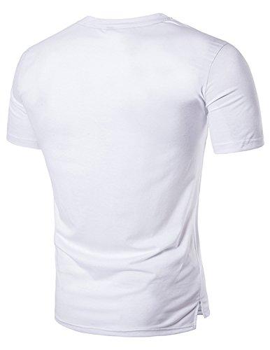 YCHENG Herren T-Shirt Oberteil Freizeit Rundhals Kurzarm 3D Tops In verschiedenen Farben Weiß