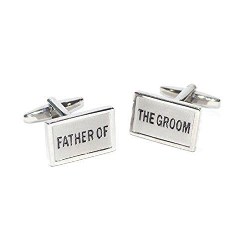 Father of the Groom Rectangular Brushed Metal Finish Cufflinks X2CW005 by GTR