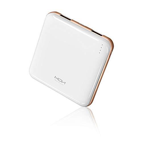 MOXNICE Powerbank 10000mAh Power Bank, Leicht und Slim Externer Akku mit 2 Ausgänge für iPhone, iPad, Samsung, Huawei, Geschenk für Männer, Frauen (Weiß Neu)