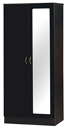 Alpha nero laccato bicolore 2unità da guardaroba con specchio mobili camera da letto