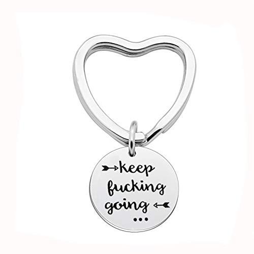 Amody Edelstahl-Schlüsselanhänger Silber Herz Ring mit Kreis graviert Keep FK Going and Arrow für Männer Frauen Inspirierende Geschenke