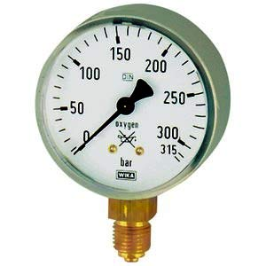Manometer (Oxygen)63mm 0-400bar G1/4 senkr. Gehäuse Stahl -