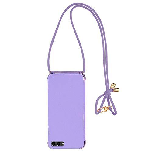 Hülle Kompatibel mit Huawei Honor View 10/ V10, [Handykette] [Air-Bag] Weiche TPU Ultra Dünn Silikon Schutzhülle, [Kratzfest] [Stoßfest] [Leicht Zu Tragen] Candy Farben Handyhülle Case Cover - Lila Air Band