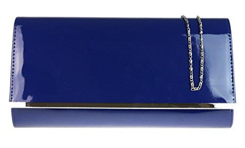 Girly HandBags Lackleder Unterarmtasche in Übergröße Glänzend, blau (Patent Animal Leder)