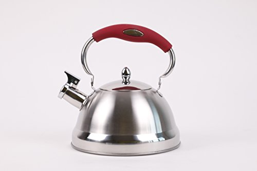 Edelstahl-Flötenkessel 2,7 Liter Wasserkessel Teekessel NEU (Rot, 2,7 Liter)